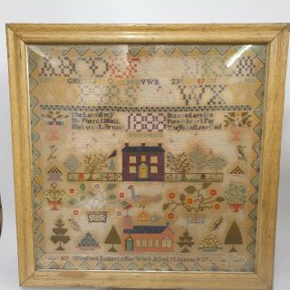 Large Antique Victorian Needlework Sampler By Winifred Roberts Dated 1888 House