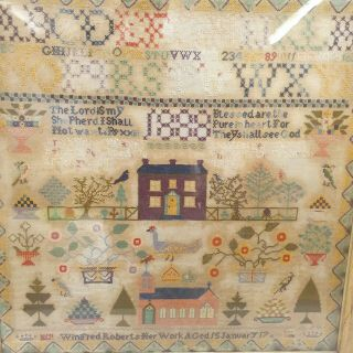 Large Antique Victorian Needlework Sampler By Winifred Roberts Dated 1888 House 2