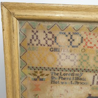 Large Antique Victorian Needlework Sampler By Winifred Roberts Dated 1888 House 3