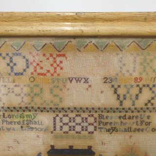 Large Antique Victorian Needlework Sampler By Winifred Roberts Dated 1888 House 4