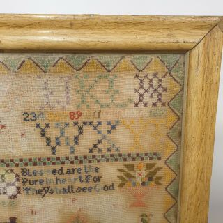 Large Antique Victorian Needlework Sampler By Winifred Roberts Dated 1888 House 5