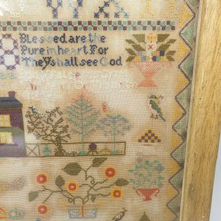 Large Antique Victorian Needlework Sampler By Winifred Roberts Dated 1888 House 6