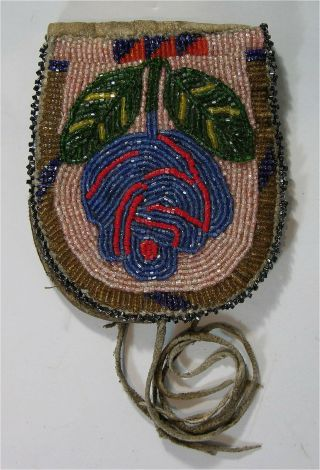 1910s Native American Nez Perce Indian Bead Decorated Hide Belt Pouch Beaded Bag