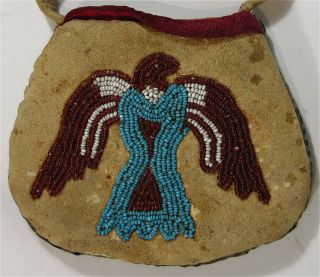 1890s Native American Santee Sioux Indian Bead Decorated Hide Pouch Thunderbird