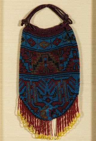 Ca1900 Native American Great Lakes Indian Tribe Loom Beaded Drawstring Bag Pouch
