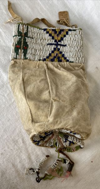 Antique Native American Sioux Indian Beaded Hide Leather Bag Pouch