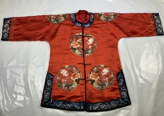 Lovely Vintage / Antique 1900s Chinese Red Silk Embroidery Crane Roundel Robe