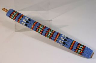 Ca1950s Native American Comanche Indian Fully Bead Decorated Pipe Stem Beaded
