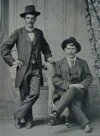 Antique Tintype Photo Of 2 Handsome Dapper Very Sexy Young Men Wearing Hats