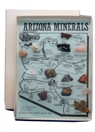 Vintage Arizona Minerals Map With Specimens In Gift Box By Grand Canyon Railway