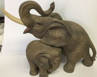 A Vintage Ceramic Beatiful Elephant Mother And Baby