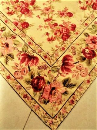 """Vintage April Cornell 52"""" X 68 """" Floral Tablecloth Red Pink Yellow"""