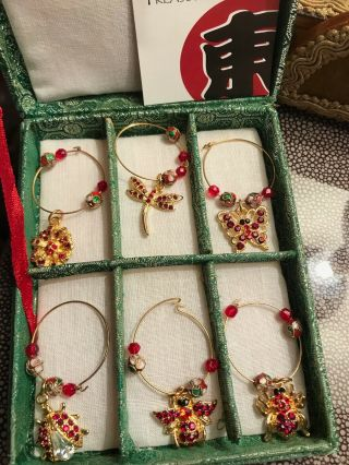 Vintage Christmas Decoration Wine Charms Insects
