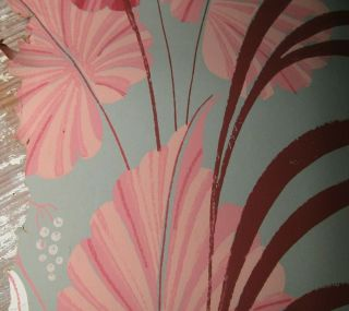 Vintage Authentic Mid Century Tiki Palm Wallpaper Remnant Crafts Projects