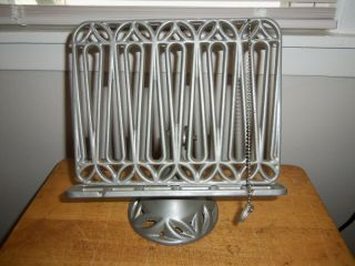 """Vintage Cast Iron """" Cookbook Stand With Page Marker """" Silver (11 1/4 """" Tall)"""