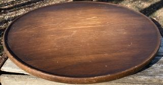 """Vintage Mcm Wood Rotating Wooden Table Top 16""""lazy Susan Mid - Century Patina"""
