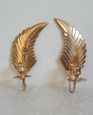 Vintage Brass Wall Mounted Candle Holders - Solid Brass Wings - Golden Wings