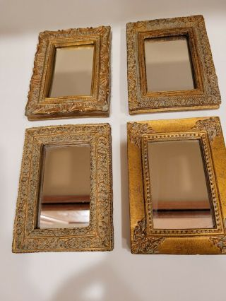 """Small Decorative Wall Mirror Set Of 4 - Accent Vintage Mirrors Of 5 """" Wall Decor"""