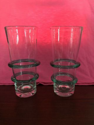 2 Vintage Unique Iced Tea Glassware With 2 Green Glass Rings