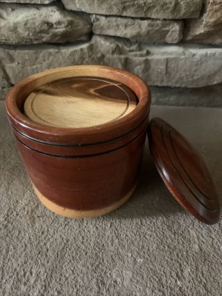Vintage Wooden Woods Coaster Box Container With Coasters