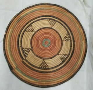 Vintage Boho Wall Hanging Coil Basket Round Colorful Woven Retro Tray Farmhouse