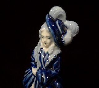"""Occupied Japan Porcelain Figurine French Lady In Blue Vintage 1946 - 1952 6 3/4 """""""