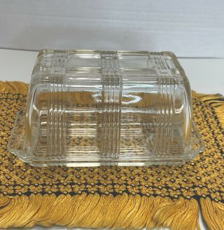 Vintage Deco & County Style Ribbed Clear Pressed Glass Butter Dish Holds 1 Pound