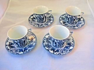 Vintage Set Of 4 Small Demi - Tasse Size Cups And Saucers - Blue And White Pattern
