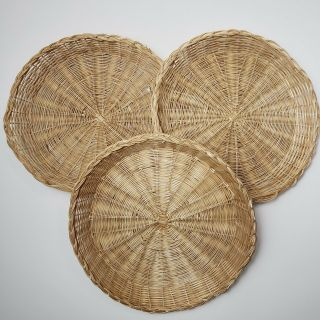 Vintage Paper Plate Holders Bamboo Wicker Rattan Reusable Picnic Set 3 10 Inch