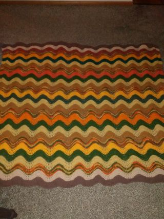 Vtg 59 X 50 Afghan Crochet ?? Estate Find