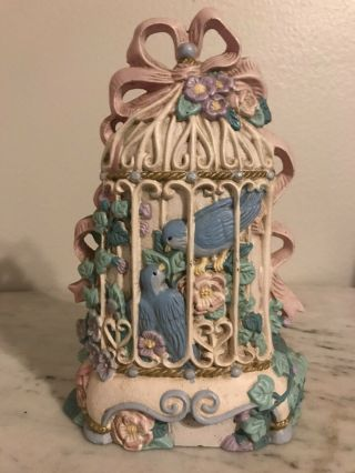 Vtg Midwest Imports Bird Cage/birds Cast Iron Door Stop Painted Victorian