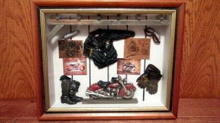 "Vtg 3d Wooden Motorcycle Glass Front Shadowbox - 11 "" Tall X 13 - 1/4 "" Wide X 2 - 1/4 "" D"