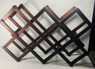 Vintage Wine Rack Accordian Collapsible Folding Wood Holds 8