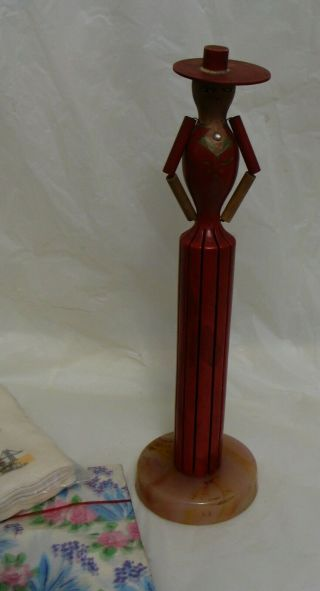 "11 "" Vintage Napkin Doll Wood,  Stone Base,  Red,  Mid - Century,  Folk Art,  W/ Napkins"