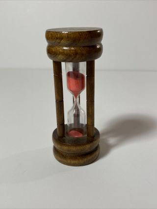 """Vintage Wooden 3 Minute Hourglass With Pink Sand 4"""" Tall Egg Timer"""