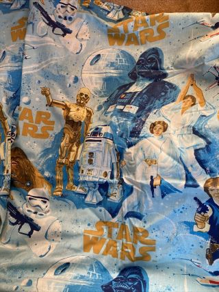 Vintage Star Wars Bibb Twin Flat Bed Sheet Darth Vader R2d2 C3po Chewy Fabric