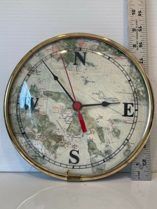 Vintage Map Clock Meredith Nh Nautical Map Clock