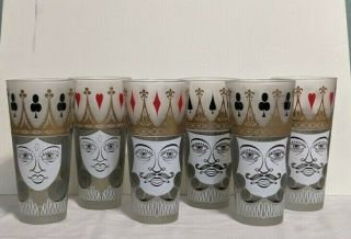 Vintage Tall Drinking Glasses Playing Card Theme Set Of 6