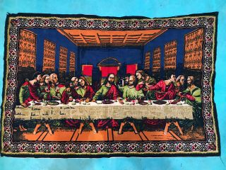 """Vintage Rtc York Tapestry Style Last Supper Large Wall Hanging 53 X 37 """""""