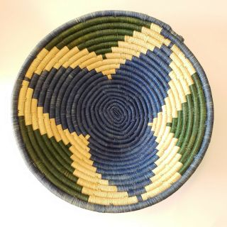 Vintage Basket Coil Woven Bowl Wall Hanging Home Decor Kenyan Boho Handmade Blue