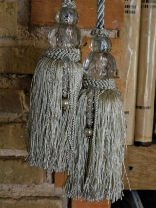 Vintage Curtain Tie Backs Tassel Wth Crystals Light Gray - Blue Color 86.  5 Inches