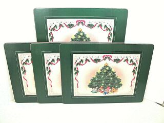 Vintage Set Of 4 Royal Table Christmas Tree Placemats Satin Finish