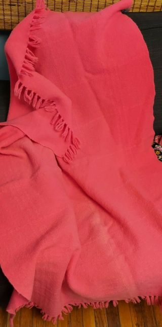 Vintage Three Weavers Houston Texas 100 Virgin Wool Pink Throw Blanket