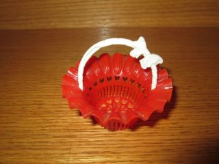 Red & White Party Favor Handle Basket Vintage Candy Cup Best U.  S.  A.