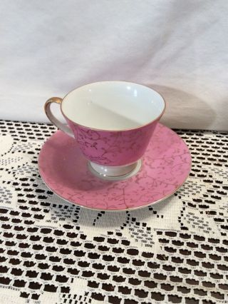 Vintage Porcelain Tea Cup And Saucer Set White W/ Pink And Gold Accents