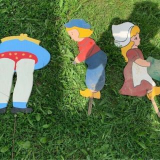 Three Vintage Wooden Garden/lawn Decor,  Folk Yard Art.