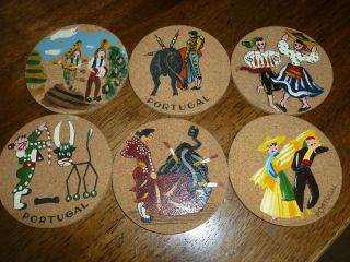 Vintage Cork Coasters - Set Of 6 - Handpainted - Portugal - Mr.  Coaster - Lisbon