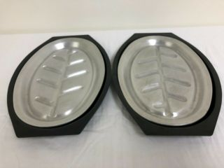 Nordic Ware Serv - A - Sizzler,  No.  24040 Vintage Platters And Holders,  Set Of 2.