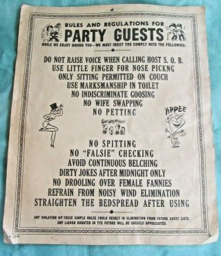 """Vintage Paper Sign """" Rules For Party Guests """""""