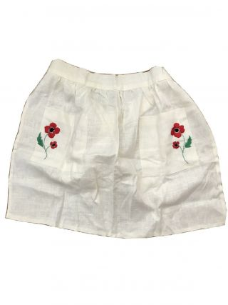 Vintage Handmade Half - Apron In White With Embroidered Red Flower On Pockets